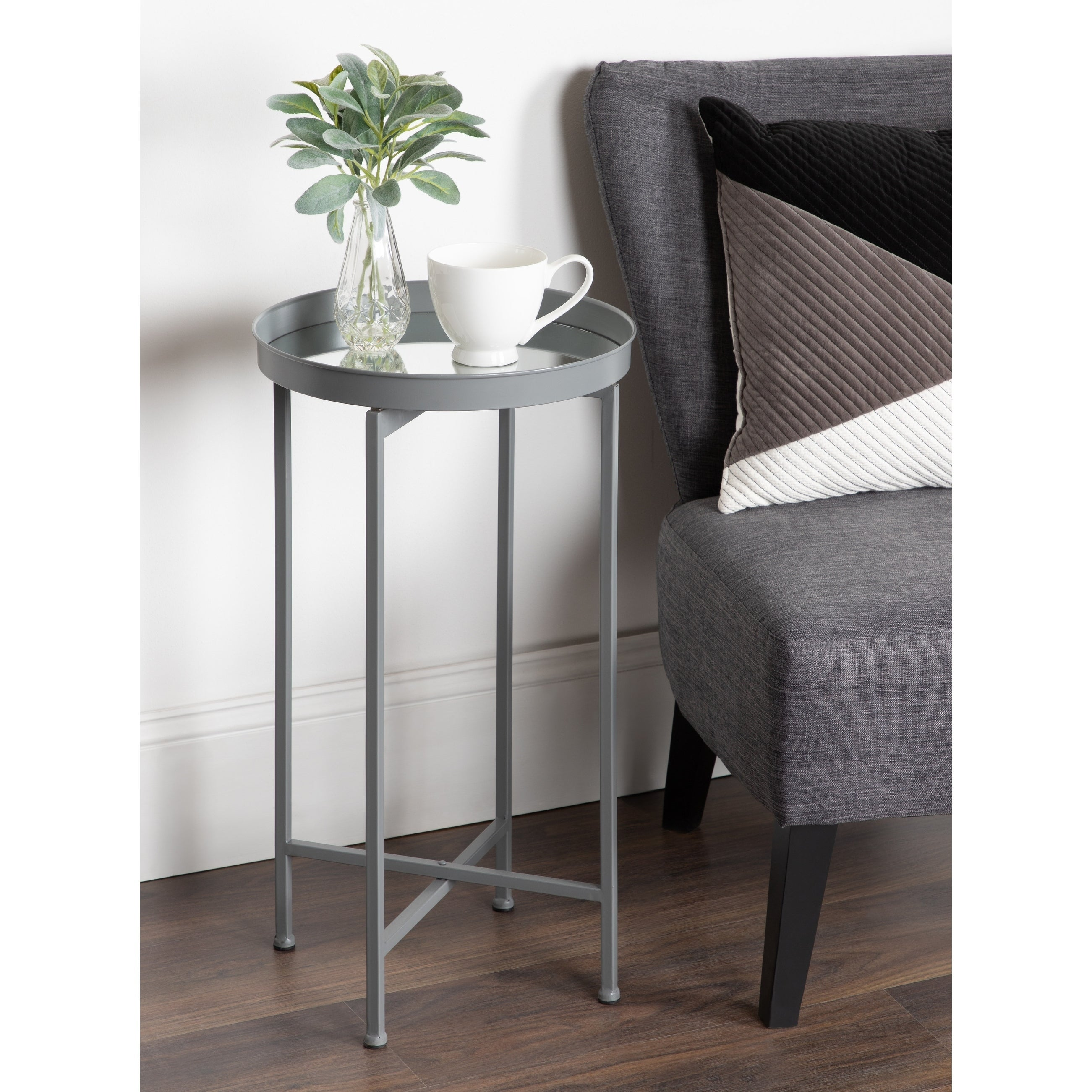 - Shop Kate And Laurel Celia Metal Round Foldable Tray Modern Accent