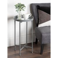 Kate and Laurel Celia Metal Round Foldable Tray Modern Accent Table