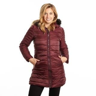 Poly 3/4 Puffer with Attached Hood Faux Fur Trim