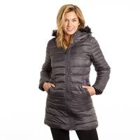 Poly 3/4 Puffer with Attached Hood Faux  Trim