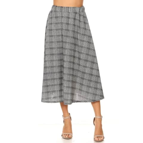 Women's Reg Plus Size Print Casual Pleated Skirt