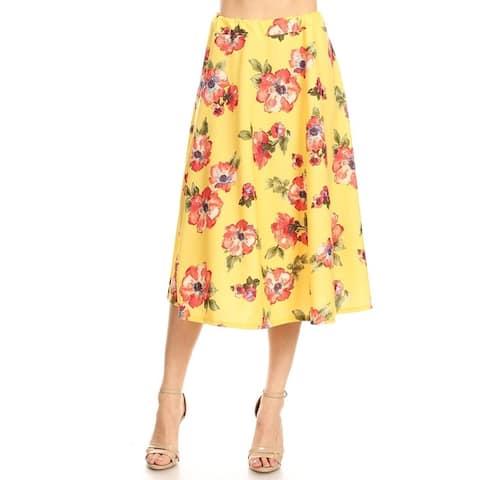 Women's Reg Plus Size Print Casual Pleated Skirt