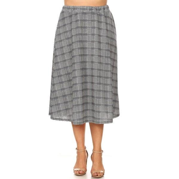 a9df8da34d9 Shop Women s Plus Size Pattern Print Casual Mid-Length Pleated Skirt ...