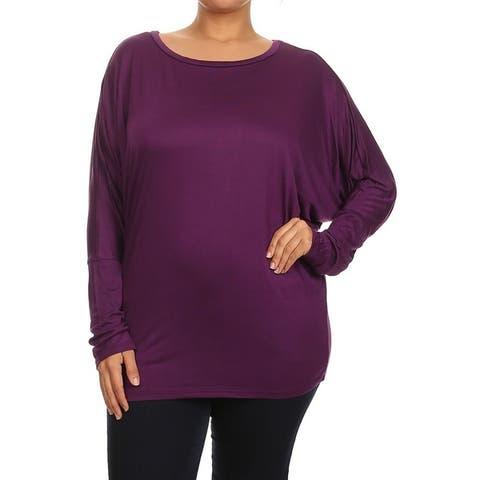 Women's Solid Color Plus Size Dolman Top Tee