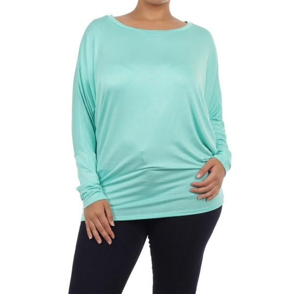 Women's Solid Color Plus Size Dolman Top Tee