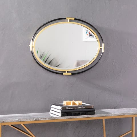 Strick & Bolton Fenn Gold/ Black Oval Wall Mirror - Gold