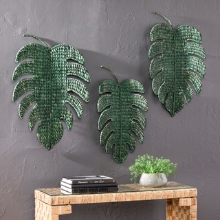 The Curated Nomad Terraza Green Leaf Woven Wall Art (Set of 3)