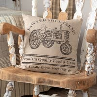 Miller Farm Tractor Cotton 18 inch Decorative Throw Pillow