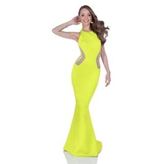 Terani Couture Halter Racer Back Trumpet Dress