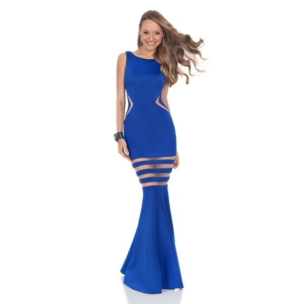 Terani Couture Sleeveless Boat Neck Backless Trumpet Dress