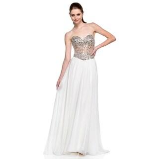 Terani Couture Sweetheart Beaded Corset Long Dress