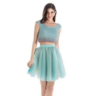 Terani Couture 2pc Cap-Sleeved Beaded Crop Top Short Dress