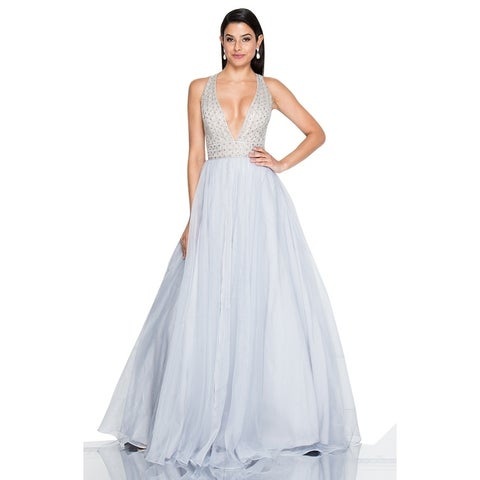 Terani Couture Beaded Bodice Crystal Long Ball Gown