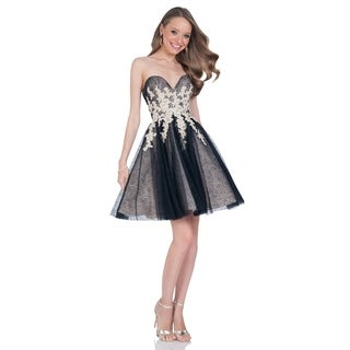 Terani Couture Sweetheart Neck Embroidered Bodice Short Ball Gown