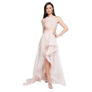Terani Couture Two-Piece Halter Top High-Low Dress