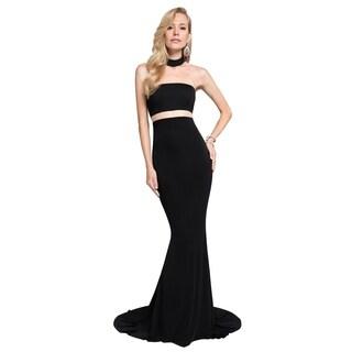 Terani Couture Mock Two-Piece High-Neck Racerback Trumpet Dress