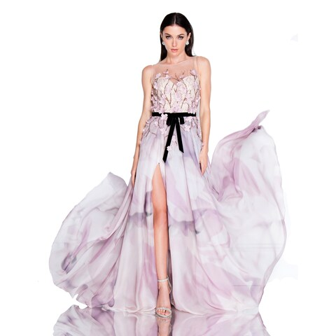 Terani Couture Sleeveless Illusion Sweetheart Floral Long Dress