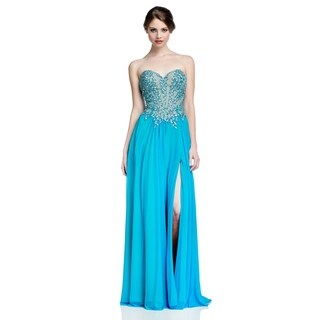 Terani Couture Strapless Sweetheart Hi-Slit Long Dress