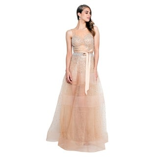 Terani Couture Bateau Stone Beaded Bodice Backless Long Ball Gown