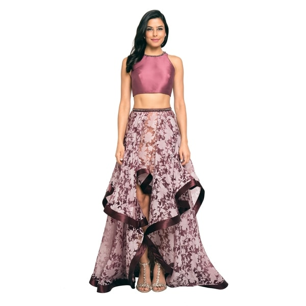 Terani Couture Two-Piece Sleeveless Boat Neck Hi-Low Ball Gown