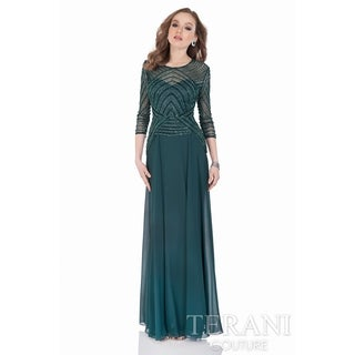 Terani Couture 3/4 Sleeve Beaded-top Long Dress