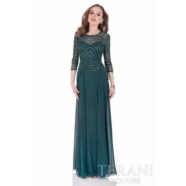 Terani Couture 3/4 Sleeve Beaded-top Long Dress