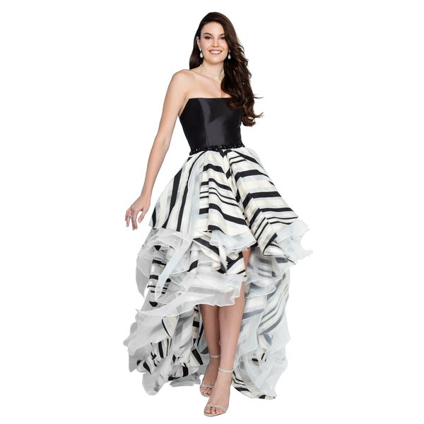 60d61669ad Terani Couture Strapless High-Low Multi Print Ball Gown