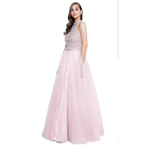 Terani Couture Halter Top High-Neck Beaded Bodice Long Ball Gown