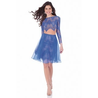 Terani Couture Long Sleeved Boat Neck Lace Two-Piece Short Dress