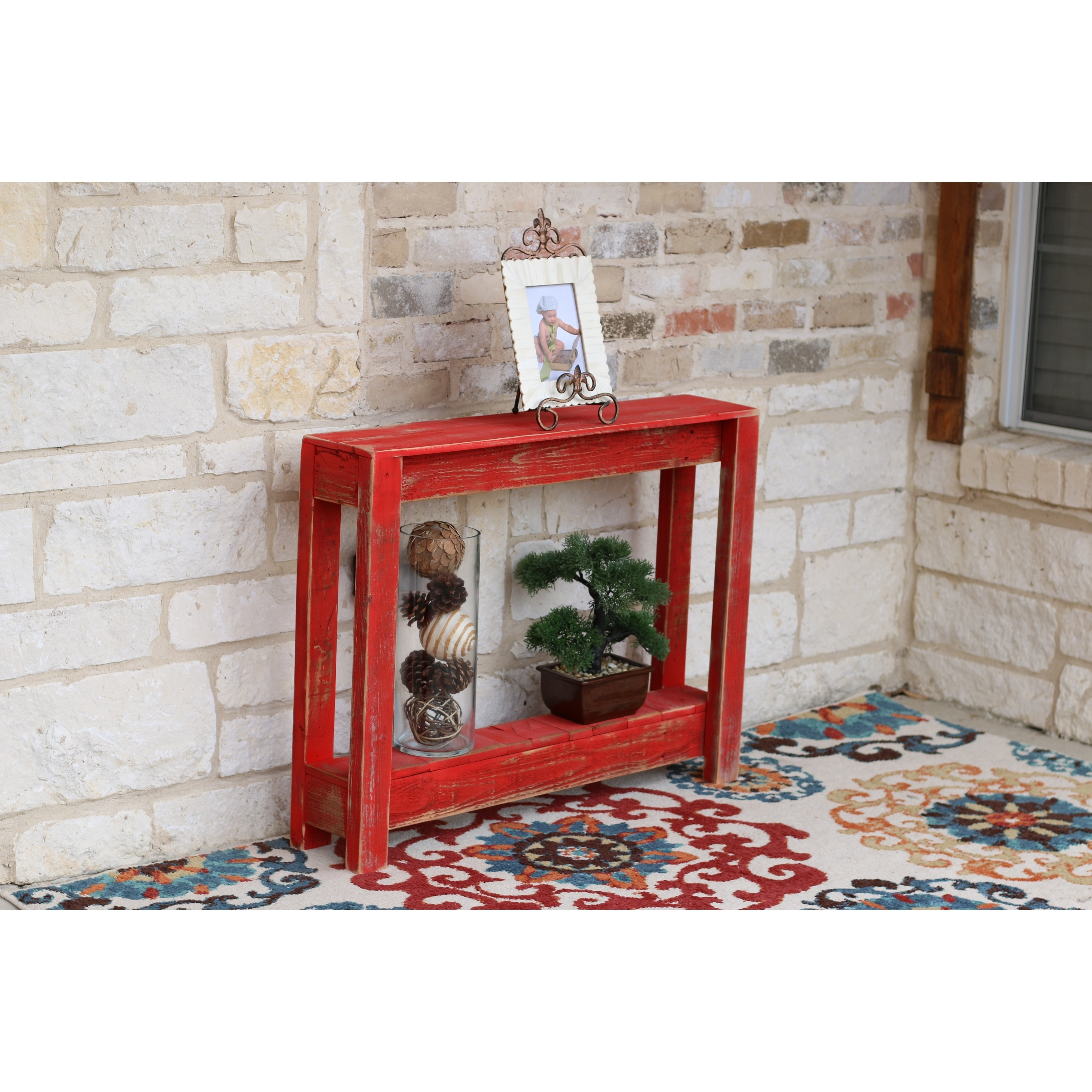 Shop Rustic Painted Wood 36 Inch Long Entryway Table Overstock 25602395