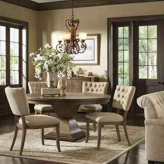 Monaco Scratch Resistant 60-inch Round Wood Dining Set with Beige Linen Dining Chairs by iNSPIRE Q Artisan