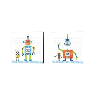 Melissa Averinos 'Robot Party on Square Toys' Canvas Art (Set of 2)
