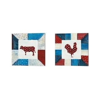 Melissa Averinos 'Modern Americana Farm Quilt B' Canvas Art (Set of 2)
