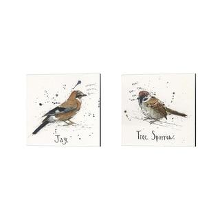 Michelle Campbell 'Jay & Tree Sparrow' Canvas Art (Set of 2)