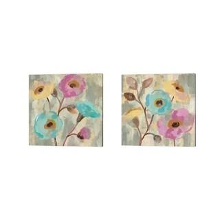 Silvia Vassileva 'Fog and Flowers' Canvas Art (Set of 2)