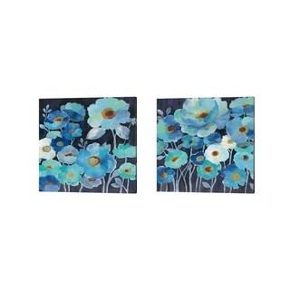 Silvia Vassileva 'Indigo Flowers' Canvas Art (Set of 2)