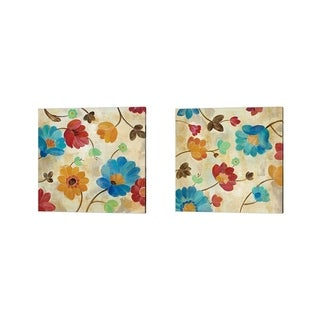Silvia Vassileva 'Coral and Teal Garden' Canvas Art (Set of 2)