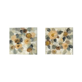 Silvia Vassileva 'Neutral Floral' Canvas Art (Set of 2)