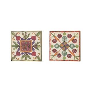 Anne Tavoletti 'Farmers Feast Tiles' Canvas Art (Set of 2)