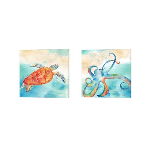 Cynthia Coulter 'Sea Splash Sea Turtle & Octopus' Canvas Art (Set of 2)
