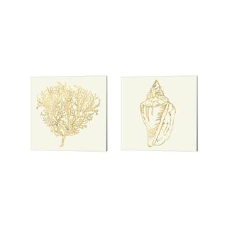 Anne Tavoletti 'Coastal Breeze Shell Sketches' Canvas Art (Set of 2)