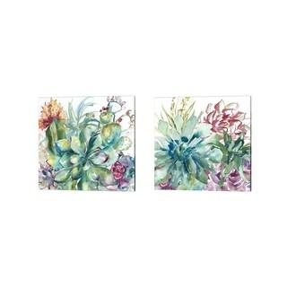 Porch & Den Kamiakan Succulent Garden Watercolor' Canvas Art (Set of 2)