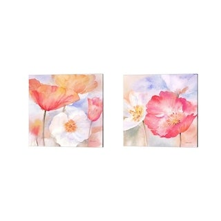 Cynthia Coulter 'Watercolor Poppy Meadow Pastel' Canvas Art (Set of 2)