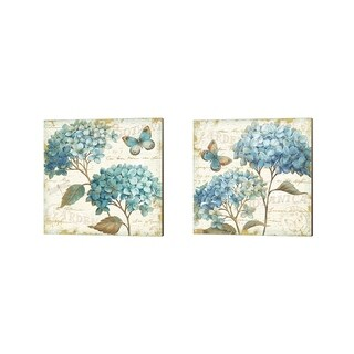 Daphne Brissonnet 'Blue Garden' Canvas Art (Set of 2)
