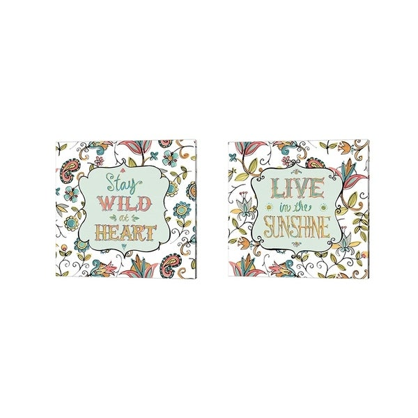 Anne Tavoletti 'Peace and Paisley on White' Canvas Art (Set of 2)
