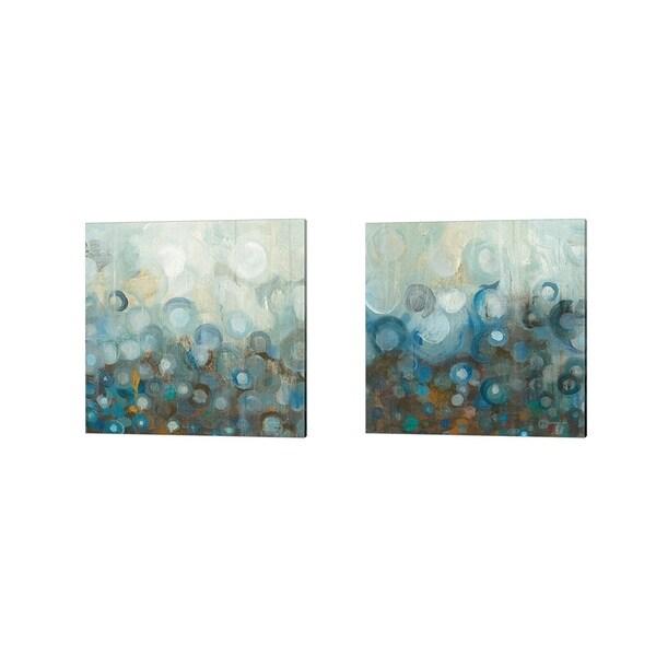 Danhui Nai 'Blue and Bronze Dots A' Canvas Art (Set of 2)