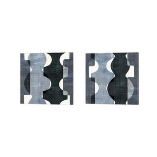 Wild Apple Portfolio 'Geometric Deco BW' Canvas Art (Set of 2)