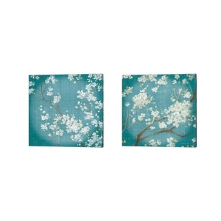 Danhui Nai 'White Cherry Blossoms on Teal Aged no Bird' Canvas Art (Set of 2)