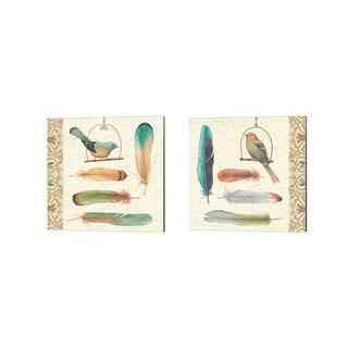 Daphne Brissonnet 'Feather Tales' Canvas Art (Set of 2)