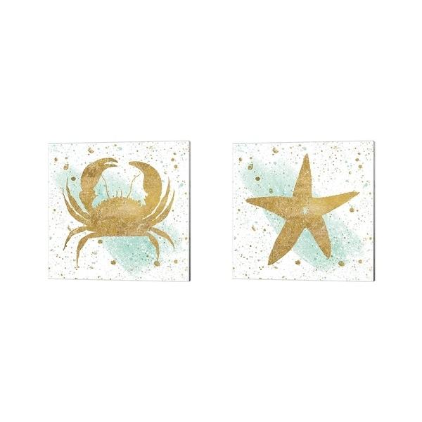 Wild Apple Portfolio 'Silver Sea Life Aqua Crab & Starfish' Canvas Art (Set of 2)
